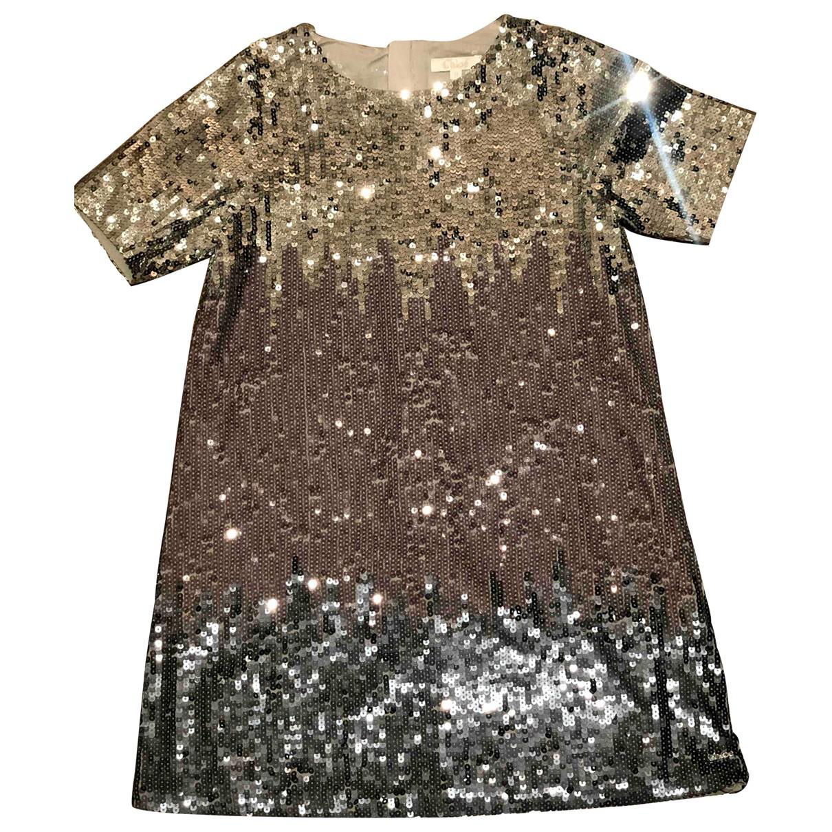 Chloe \N Kleid in  Metallic Mit Pailletten