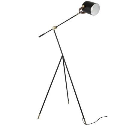 Hayward Collection L-HYWDFLAU+BK Floor Lamp with Line On/Off Switch  Industrial Style  Metal Construction  Leatherette Strap   and Black Finished