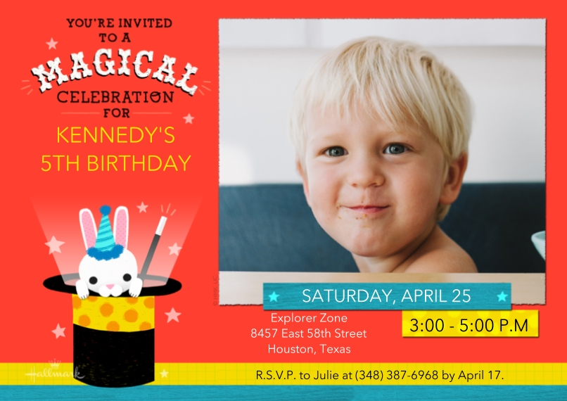 Kids Birthday Party Invites 5x7 Cards, Premium Cardstock 120lb with Rounded Corners, Card & Stationery -Magical Celebration