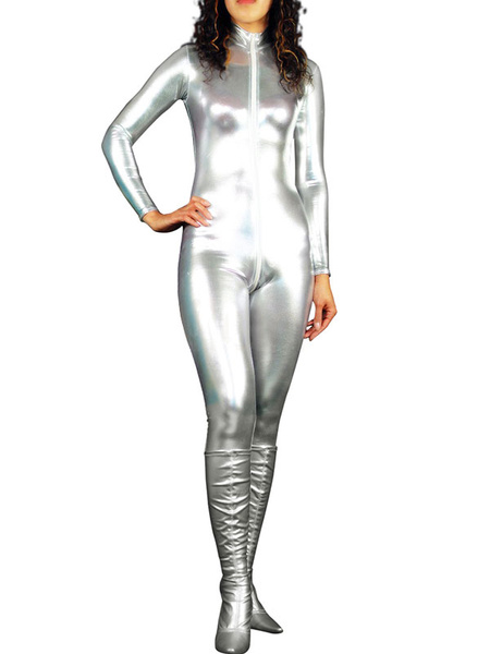 Milanoo Disfraz Halloween Barato Halloween CatSuit Plateado Brillante Metalico Bodysuits Halloween