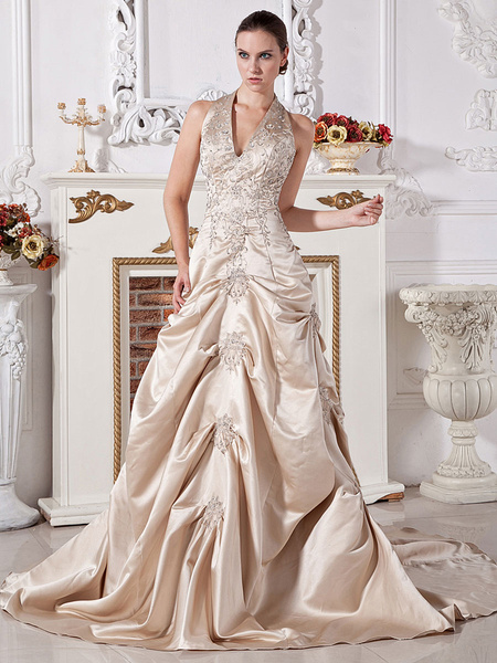 Milanoo Ball Gown Halter V-Neck Beaded Applique Satin Wedding Dress