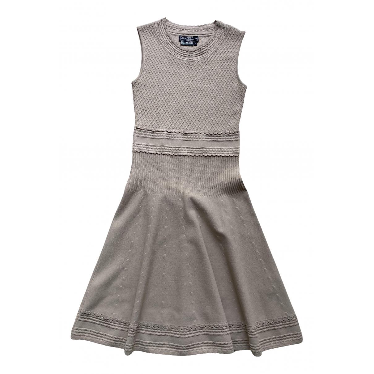 Salvatore Ferragamo \N Kleid in  Beige Synthetik