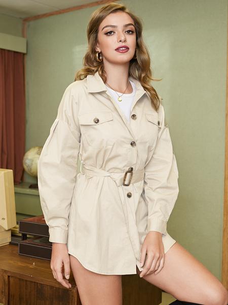 YOINS Beige Self-tie Design Classic Collar Trench Coat