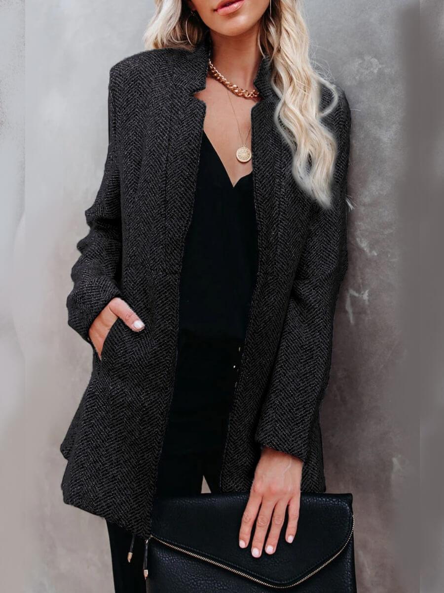 LW Lovely Trendy Basic Black Coat