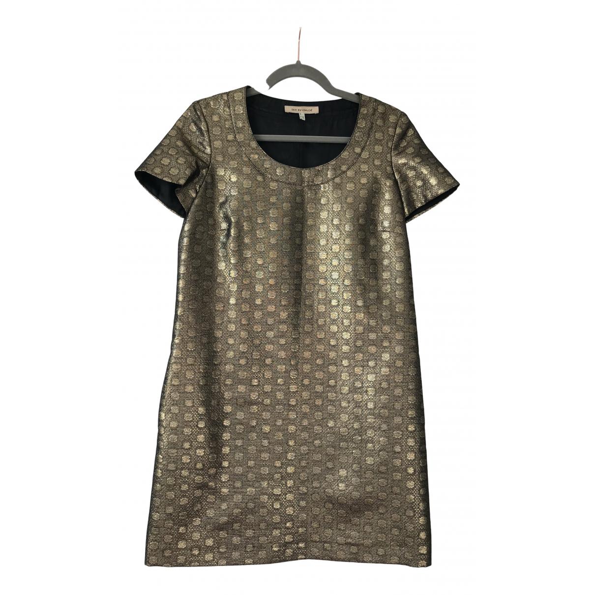 See By Chloe \N Kleid in  Gold Viskose