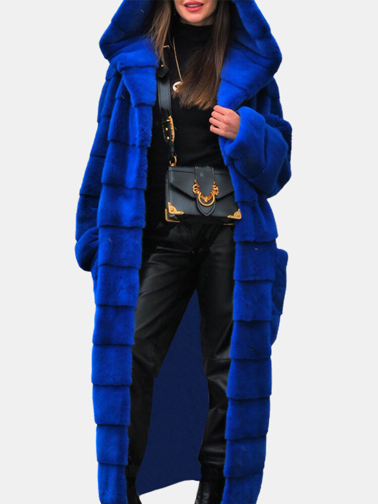 Faux Fur Solid Color Long Sleeve Hooded Casual Coat For Women