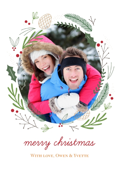 Christmas Photo Cards 5x7 Cards, Premium Cardstock 120lb with Elegant Corners, Card & Stationery -Forest Wreath Christmas