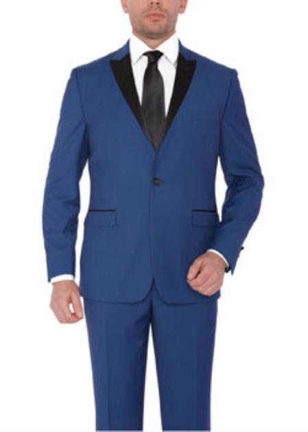 indigo ~ Cobalt ~ Teal Blue with black lapel Suit Peak lapel Tuxedo
