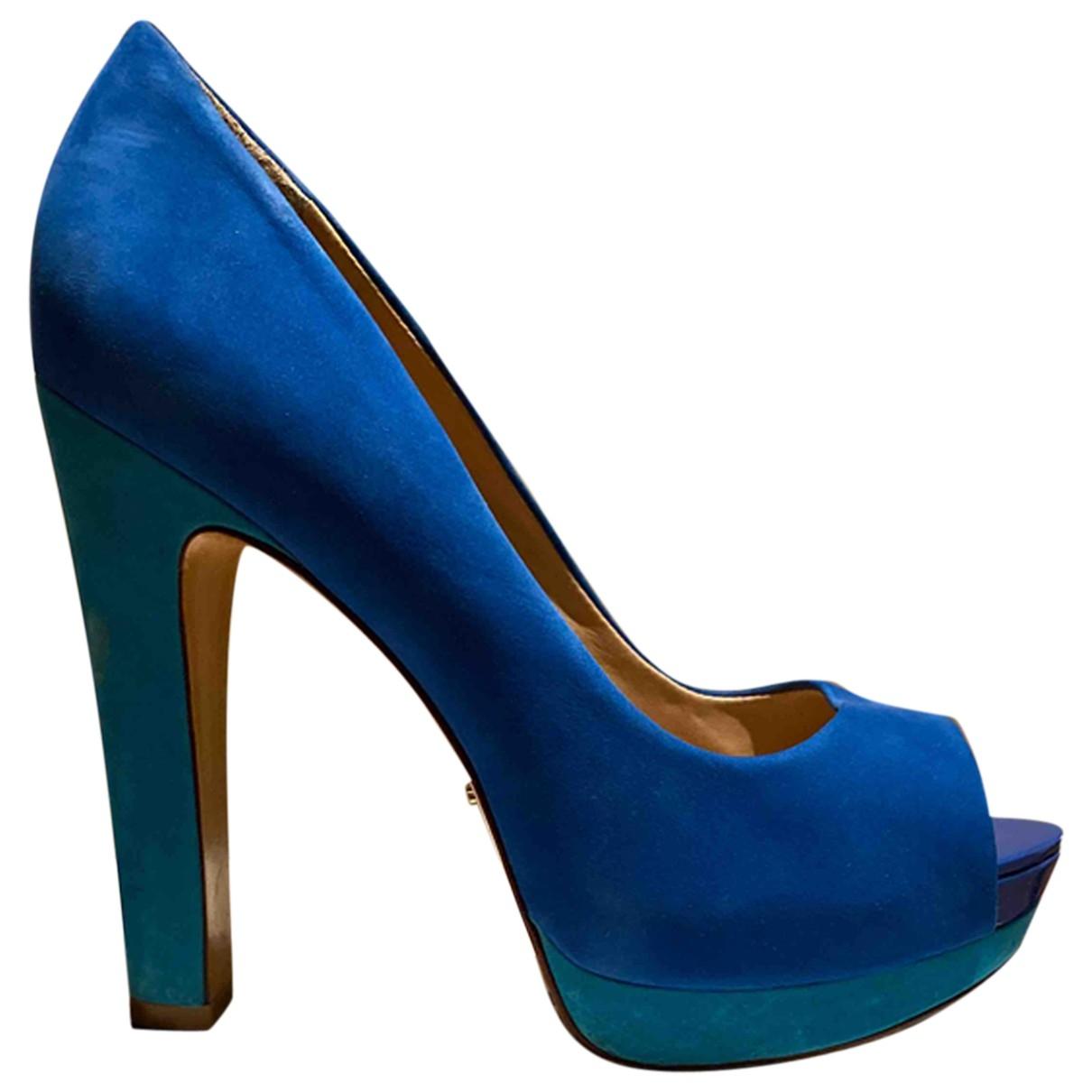 Schutz - Escarpins   pour femme en velours - bleu
