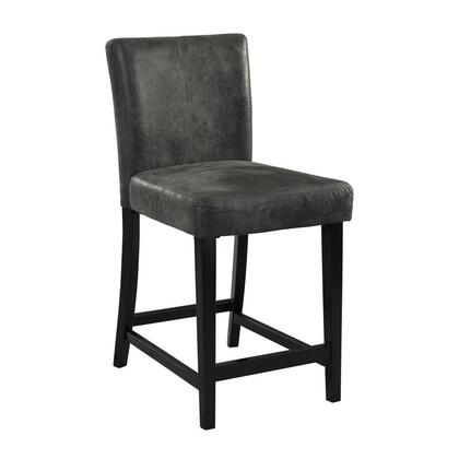 Morocco Collection 0225CHA-01-KD-U Counter Height Stool with Footrest Support  Ikat Design  Black Finished Pine Wood Frame and Sueded Microfiber