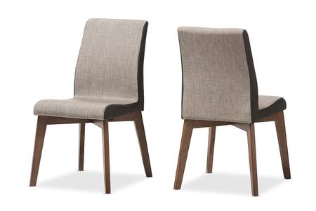 KIMBERLY-BROWN/DARK-BROWN-DC Baxton Studio Kimberly Mid-Century Modern Beige and Brown Fabric Dining Chair (Set of
