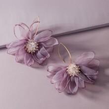 1 Paar Flower Design Mesh Ohrringe