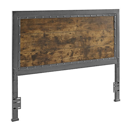 Queen Size Industrial Wood and Metal Panel Headboard, One Size , Brown