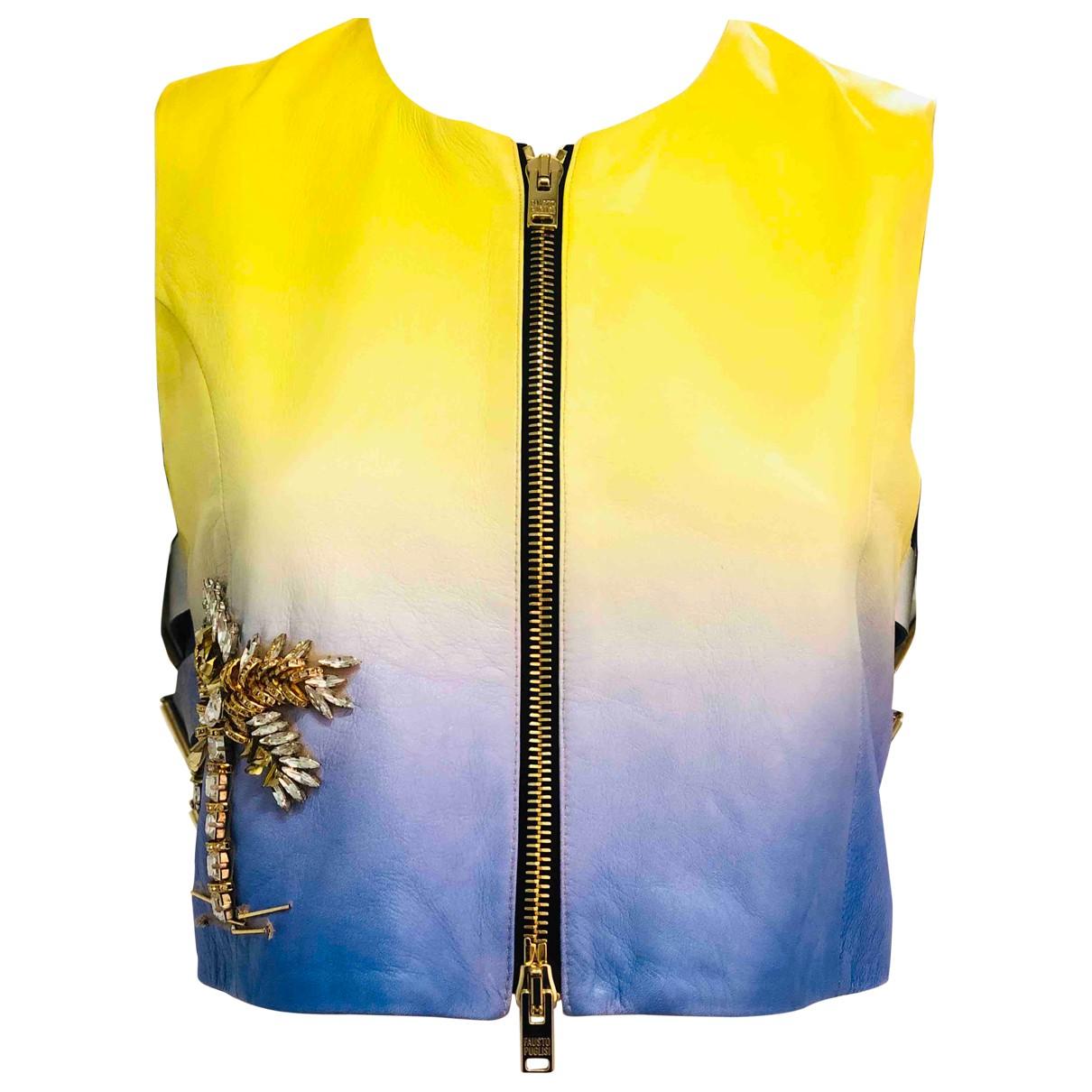 Fausto Puglisi - Veste   pour femme en cuir - jaune