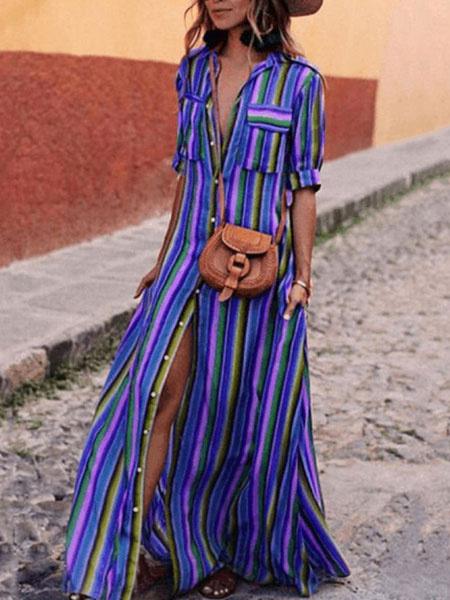 Milanoo Camisa con Arco Iris de Rayas 2020 Vestido Button Down Vestido largo hasta el tobillo Vestido Multicolorado con Manga Media con Bolsillos Vest