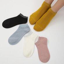 5pairs Simple Ankle Socks