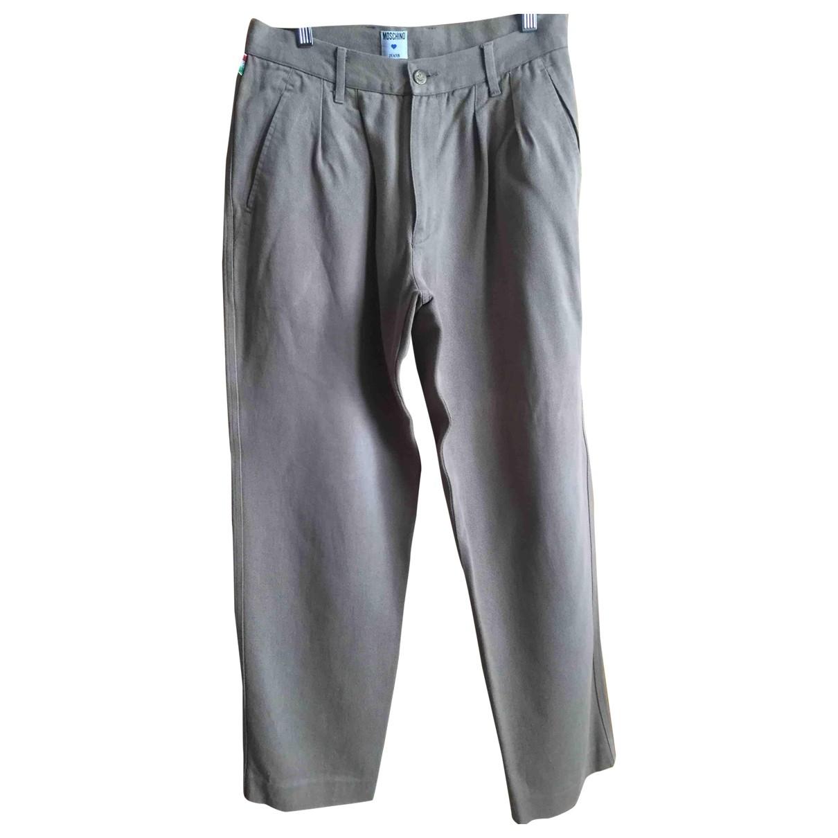 Pantalones en Algodon Beige Moschino Love