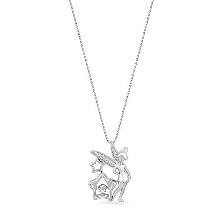 Enchanted Disney Fine Jewelry Womens Diamond Accent Genuine White Sterling Silver Tinker Bell Pendant Necklace, One Size , No Color Family