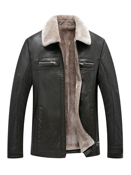 Milanoo Men Leather Jacket Plush Lining Borg Collar Zipper Plus Size PU Winter Jacket