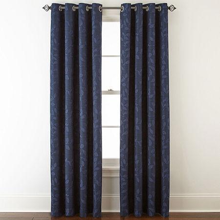 Liz Claiborne Quinn Leaf Room-Darkening Grommet Top Single Curtain Panel, One Size , Blue