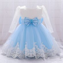 Baby Girl Lace Panel Big Bow Gown Dress