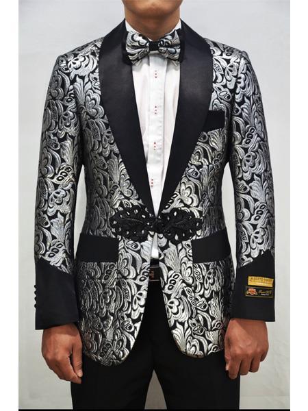 Alberto Nardoni Dinner Floral Fashion Prom Pattern Silver Black Tuxedo