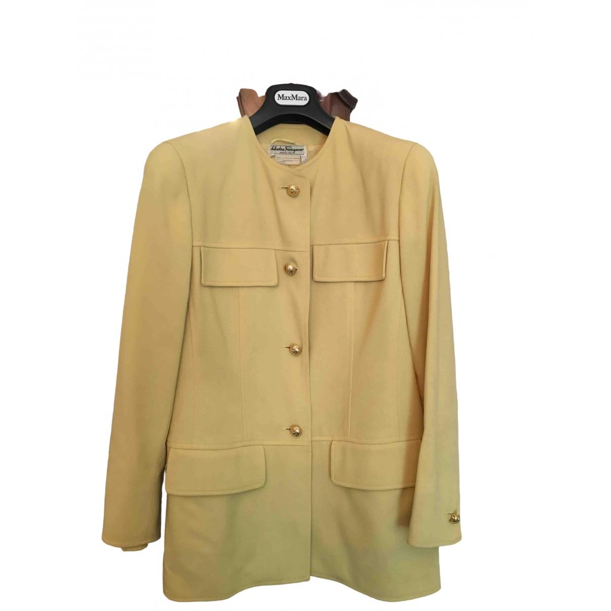 Salvatore Ferragamo - Veste   pour femme en laine - jaune