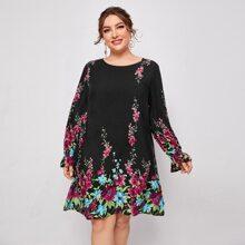 Tunik Kleid mit Blumen Muster und Schosschenaermeln