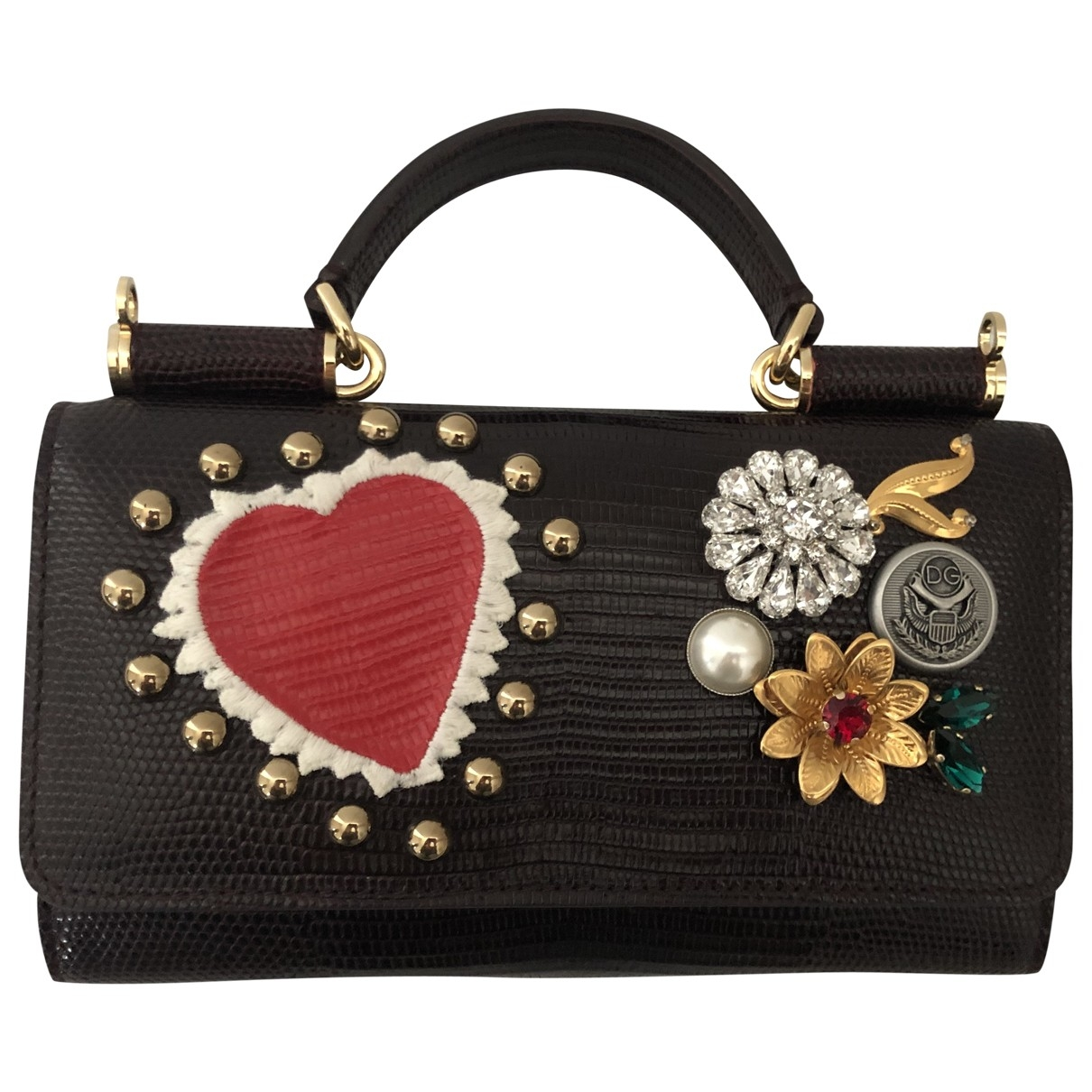 Dolce & Gabbana - Pochette Sicily pour femme en cuir - bordeaux