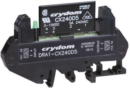 Sensata / Crydom 5 A rms SPNO Solid State Relay, Instantaneous, DIN Rail, 280 V Maximum Load