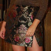 Jacquard Rock mit Schlitz und Blumen Muster
