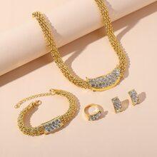5 piezas set joya con diamante de imitacion