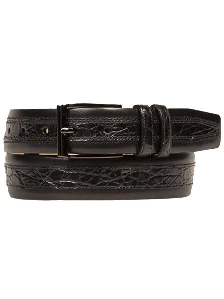 Mezlan Brand Men's Genuine Crocodile / Calfskin Black Skin Belt