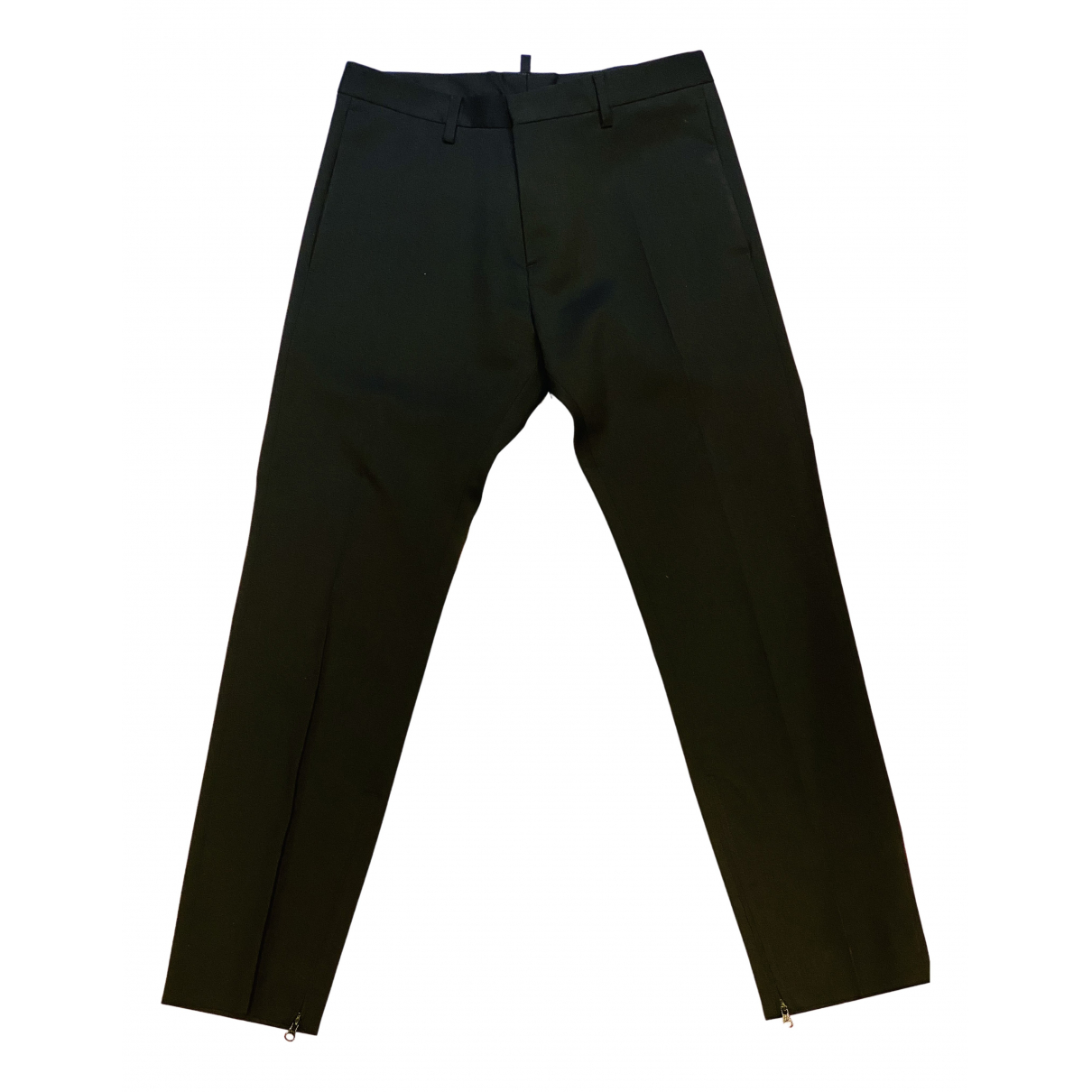 Dsquared2 N Black Wool Trousers for Men 46 IT