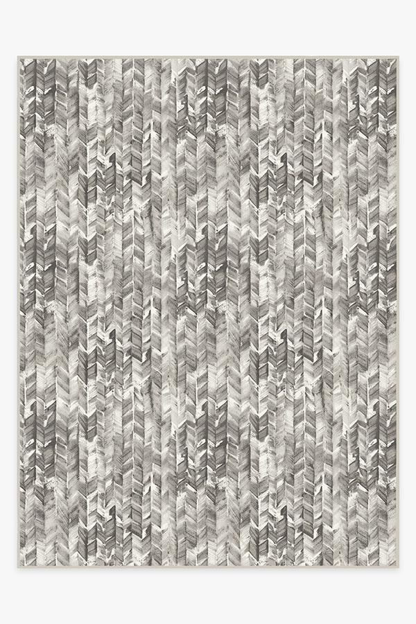 Washable Rug Cover | Watercolor Herringbone Grey Rug | Stain-Resistant | Ruggable | 9'x12'