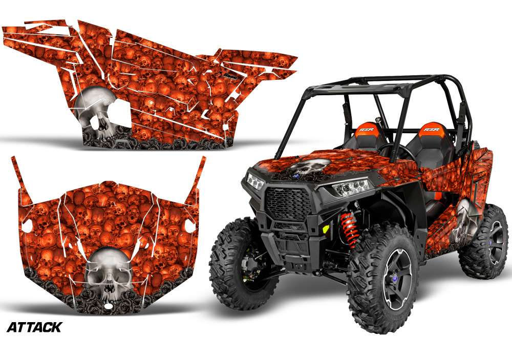 AMR Racing  Full Custom UTV Graphics Decal Kit Wrap Bones Orange Polaris RZR S 900 15-16
