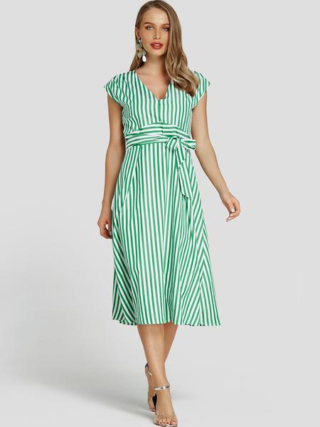 Yoins Green Self-tie Design Stripe V-neck Backless Mini Dress