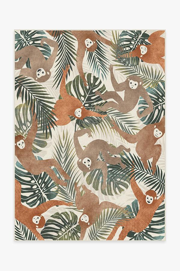 Washable Rug Cover & Pad | Monkey Mania Natural Rug | Stain-Resistant | Ruggable | 5'x7'
