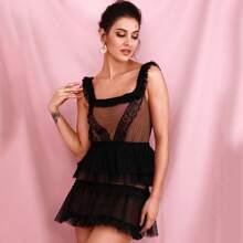 Eyelash Lace Trim Mesh Dress