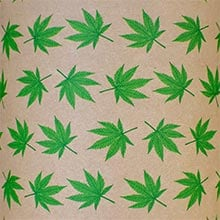 #g9216 Cannabis Leaf Brn Krft - Gift Wrap - 24 X 417 - - Gift Wrapping Paper by Paper Mart