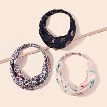 3 Stuecke Haarband mit Blumen Muster