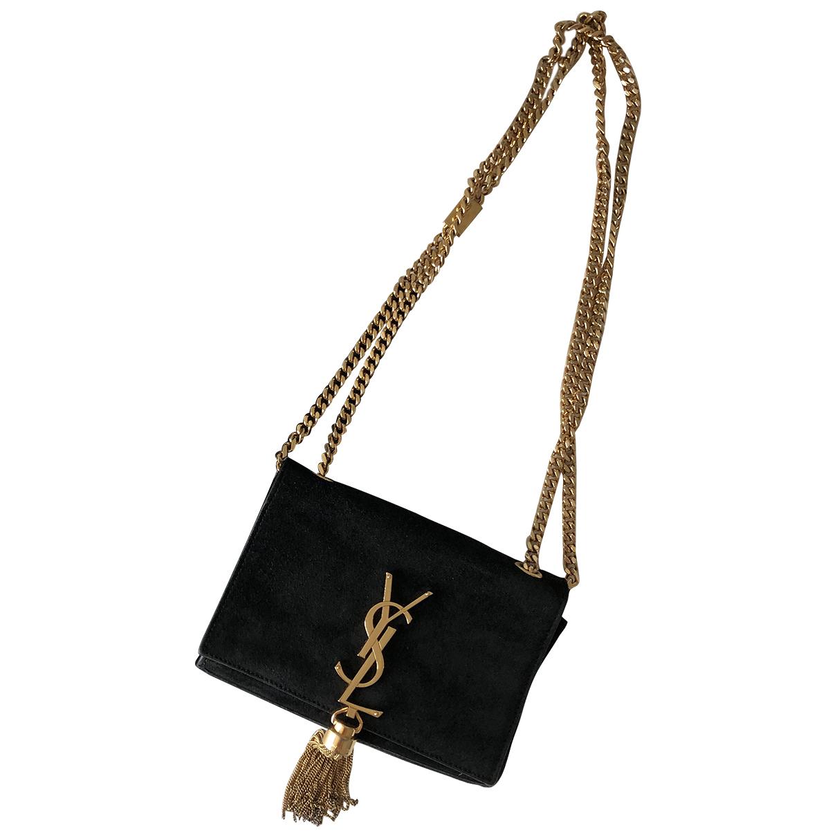 Saint Laurent Pompom Kate Black Suede handbag for Women \N