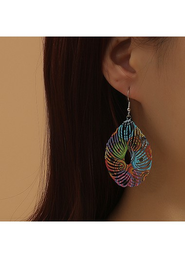 Mother's Day Gifts Multi Color Hollow Water Drop Earring Set - One Size