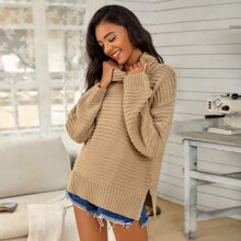 Funnel Neck Drop Shoulder Split Side Sweater