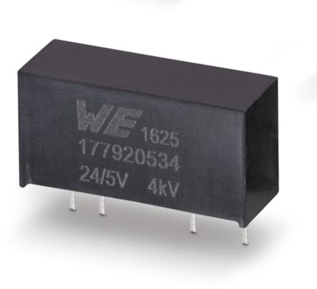 Wurth Elektronik 177920514, 1-Channel, Isolated DC-DC Converter, 0mA 7-Pin, SIP (25)