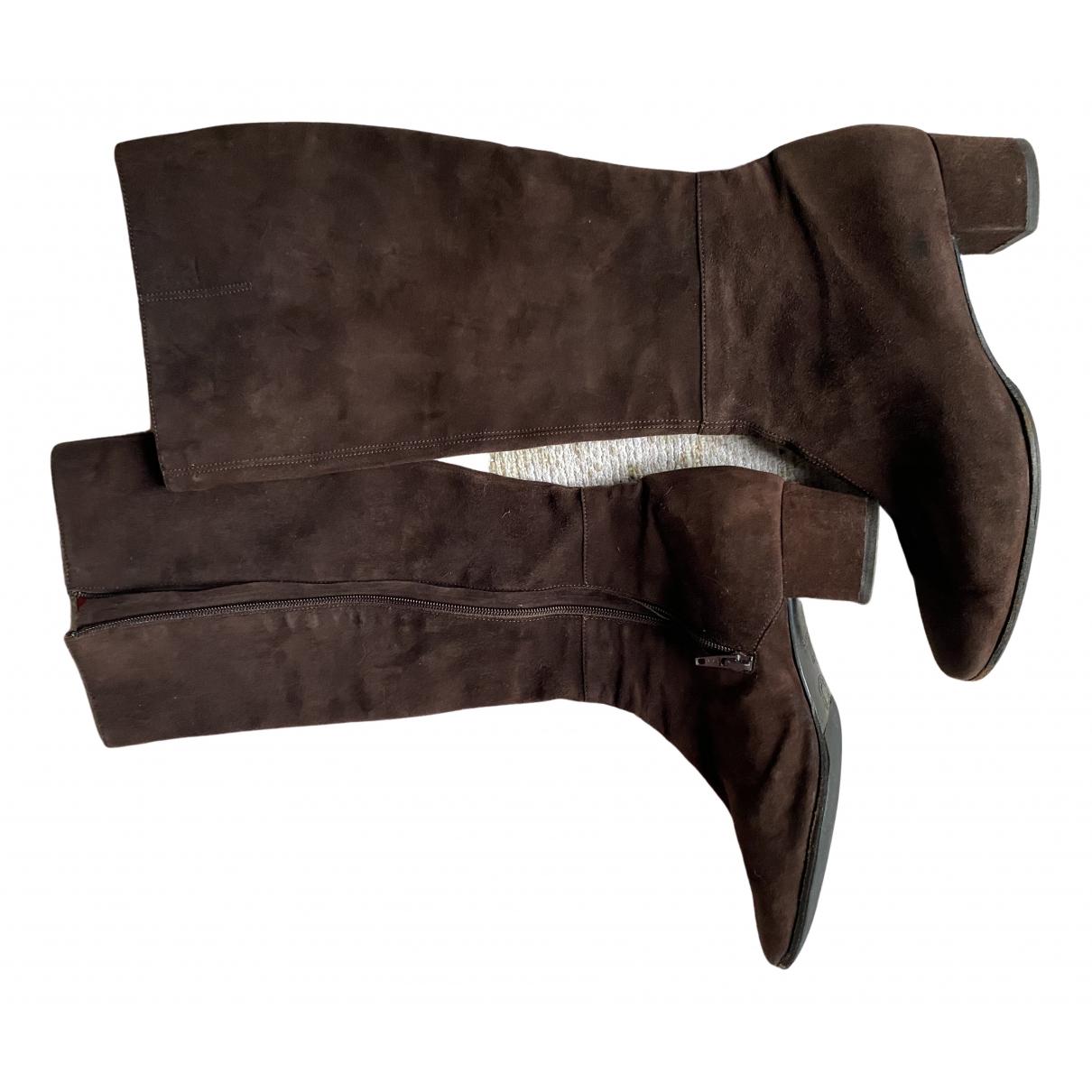 Celine N Brown Suede Boots for Women 39 EU