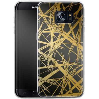 Samsung Galaxy S7 Edge Silikon Handyhuelle - Strokes Gold Black von Khristian Howell