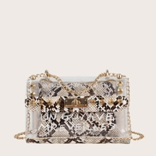 Studded Decor Snakeskin Bag With Inner Pouch