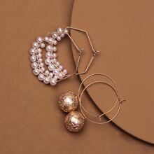 2pairs Faux Pearl Decor Hoop Earrings