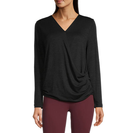 Stylus Surplice Womens V Neck Long Sleeve Wrap Shirt, Medium , Black